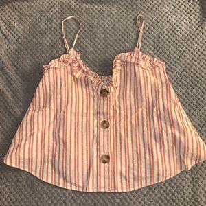 ZARA TRF Striped Button Top